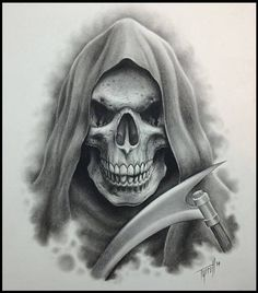 Grim reaper and a badass scythe Evil Skull Tattoo, Skull Tattoo Design, Skull Design, Skull Tattoos, Sleeve Tattoos, Tattoo Designs, Mens Tattoos, Grim Reaper Art, Grim Reaper Tattoo