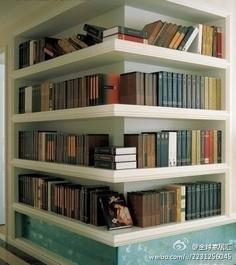 A corner bookshelf