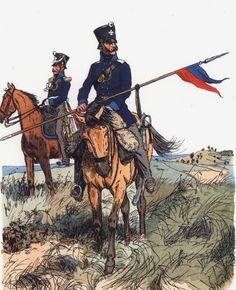 Ufficiale e lanciere della milizia a cavallo prussiana