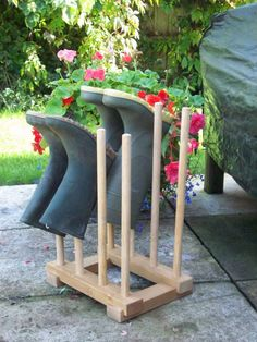 Handmade Wooden 4 Pair Welly Boot Rack Wellington Stand