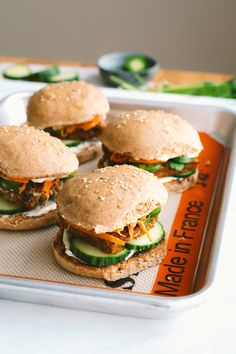 """Bánh Mí Sliders w/ Pickles from """"Ferment Your Vegetables"""" // by Faring Well… Vegetarian Recipes Dinner, Vegan Vegetarian, Vegan Recipes, Dinner Recipes, Vegan Food, Paleo, Quinoa Dishes, Easy Weeknight Meals, Quick Recipes"""