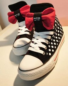 Promotion! Fashionable High Top Sneakers for Women White Dot Pattern Black Canvas Mickey Mouse Shoes Women Lace Up
