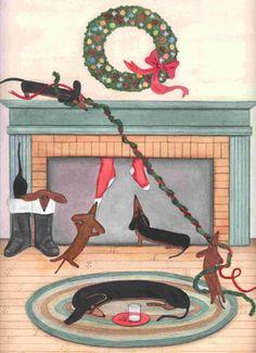 Dachshund (doxie) family on Christmas morning / Lynch signed folk art print via Etsy
