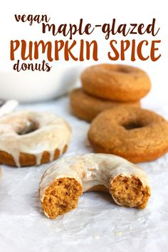 Vegan pumpkin donuts flavored with autumn spices and coated with sweet, maple glaze. Baked, not fried, and easy to make for a special fall treat!   Vegan Maple-Glazed Pumpkin Spice Donuts   So Much Yum