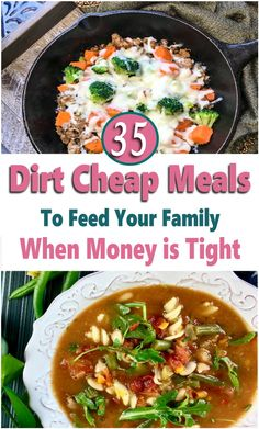 If you are trying to get your grocery budget under control, then you need to add these dirt cheap meals to your monthly meal plan. These cheap recipes will help you feed your family on a budget whether your meal prepping for two or a large family and most of these meals are under $2 per serving and there are many recipes to add to your weekly menu for less than $1. These budget dinner, lunch, and breakfast ideas will help you to save money on groceries while feeding your family healthy… Monthly Meal Planning, Family Meal Planning, Budget Meal Planning, Frugal Meals, Budget Meals, Easy Meals, Groceries Budget, Dirt Cheap Meals, Inexpensive Meals