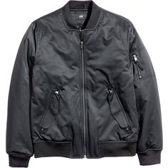 Padded Pilot Jacket $49.99 ($50) via Polyvore featuring outerwear, jackets, lined jacket, stand collar jacket, flap jacket, cotton lined jacket and zip pocket jacket