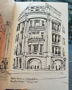 Apple Store Amsterdam #sketch #sketching #sketchbook #sketchwalker #TravelSketch #TravelSketcher #Amsterdam #urbansketchers