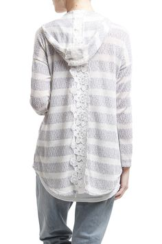 Grey and white stripe knit cardigan with lace embellishments down the back 74.95% Rayon, 21.65% Polyester, 3.4% Spandex Made in USA