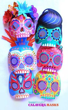 Nine easy to make printable DIY calavera masks - Telaraña, La Catrina, Plumas, Mariposa, Diamante, Gato, Rock n' roll, Bufalo and Luchador.