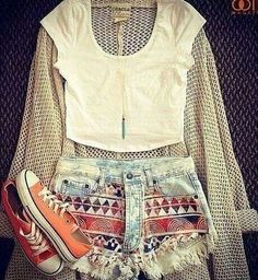 summer outfits! crop top and cutoffs!