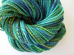 Handspun Yarn Merino   Teal blue Turquoise and Yellow  by etsybtsy, $45.00