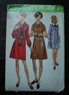 Simplicity 8936 1970s 70s Mod Shirt Dress Vintage Sewing Pattern Size 318.5 Bust 41 Plus Size