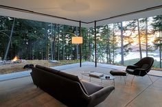 Breathtaking scenery outside becomes the canvas for the open living room!