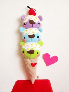 Triple Scoop Bearcream Cone by casscc.deviantart.com on @DeviantArt