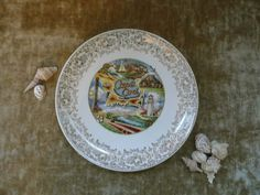 Kitschy Vintage Ceramic Souvenir Plate From Cape Cod Massachusetts - Great Beach Cottage Decor by MossyCottage on Etsy