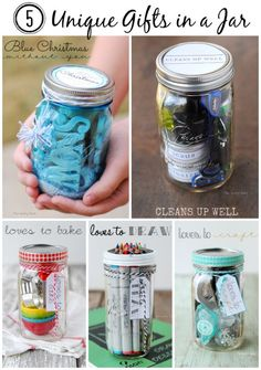 5 Unique Gifts In A Jar that are perfect for the holidays: Blue Christmas Without You, Cleans Up Well, Loves To Bake, Loves To Draw and Loves To Craft