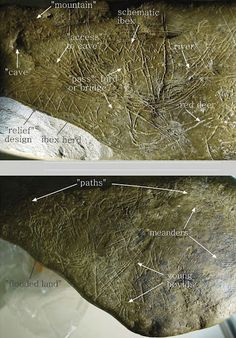 Grabado en una piedra un mapa de 13.660 años de antigüedad, el más antiguo que se conoce en Europa occidental, representa el paisaje circundante, con ríos, montañas y charcas. (hallada en la cueva navarra de Abauntz)