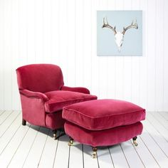 Windsor Armchair and Footstool alternative to chaise in Laura's room - to be covered in mink velvet Velvet Footstool, Velvet Armchair, Upholstery Cushions, Chair Cushions, Leather Recliner Chair, Velvet Furniture, Colorful Chairs, Pink Chairs, Beach Chairs