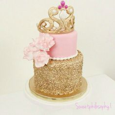 Princess pink and gold sequined cake