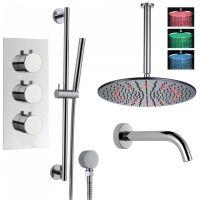"""Душевая система Boroy, 16"""" круглый верхний душ с подсветкой, ручной душ, кран для ванны, термостат, скрытый монтаж"""