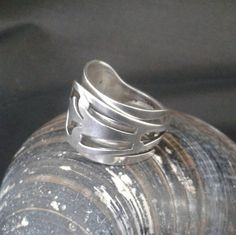 Solid Silver Fork Band Ring - Adjustable - Crafted from an America Hallmarked Silver Dessert Fork - Handmade by Adrift Crafts by AdriftCrafts on Etsy