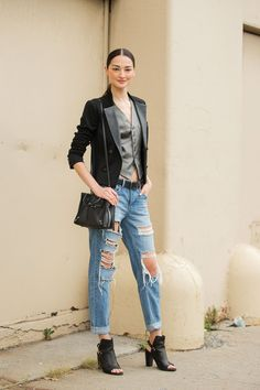 The NYFW Street Style Looks That Truly Stunned #refinery29  http://www.refinery29.com/2014/09/73987/new-york-fashion-week-2014-street-style-photos#slide22  Party on top, farmer on the bottom.