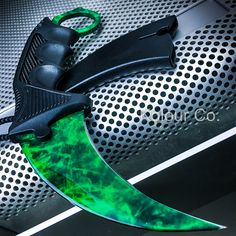 TACTICAL KARAMBIT KNIFE Survival Hunting BOWIE Fixed Blade EMERALD GAMMA DOPPLER