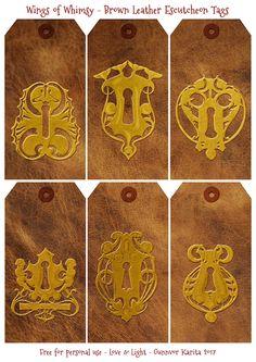 Wings of Whimsy: Old Brown Leather Escutcheons Tags #freebie #vintage #ephemera #pritable #escutcheons #tags