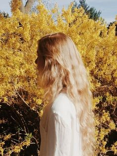long hair blond wavy forest nature