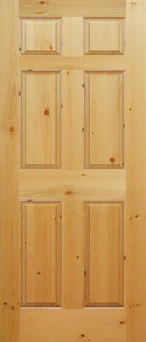 Mastercraft 32 X 80 Ready To Finish Knotty Pine Raised 6 Panel Interior Door Slab