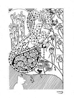 """""""Rain in Rose Garden"""" -  ink pen drawing by artallure on Etsy"""