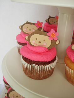 Monkey Cupcakes | Set of 12 Girl Monkey Love Fondant Cupcake Toppers w/ Pink Flower