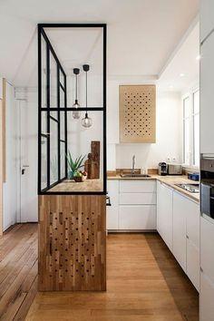Gorgeous 36 Affordable Mid Century Kitchen Decor I Home Decor Kitchen, Interior Design Kitchen, New Kitchen, Home Kitchens, Kitchen Modern, Kitchen Industrial, Kitchen Ideas, Kitchen Lamps, Narrow Kitchen