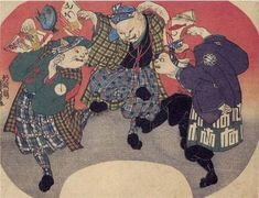 <猫のおどり: NEKO NO ODORI>  DANCING CATS  KUNIYOSHI UTAGAWA  1798-1861  Last of Edo Period