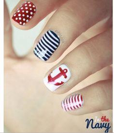 navy nails - nautical nails