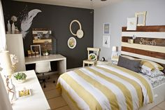 After pic of Hailey's room! Yellow and gray bedroom. Duvet cover @Elise West elm