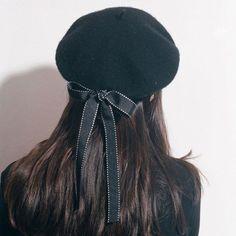 8fa47f422d5e Womens Ladies vegan Leather Beret ,Harajuku Wool Basque Hat With Bowknot -  Black #hatsforwomen