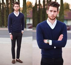 J. Crew Sweater, Paul Smith Pants, Gucci Shoes, classic blue and black #menswear #style #fashion