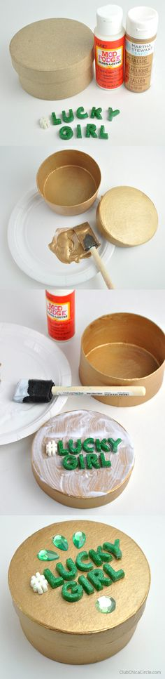 #LuckyGirl Gold Gift Box Craft Idea with Mod Podge Melts