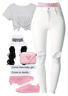 """""""No motivation"""" by slayvage ❤ liked on Polyvore featuring (+) PEOPLE, adidas Originals, Versace and Dimepiece"""