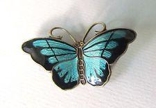 Vintage Sterling Silver Blue Enamel Butterfly Pin Brooch Norway by Hroar Prydz