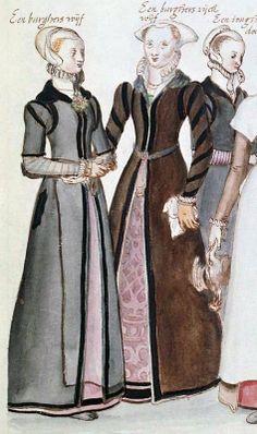 1574, English gentlewomen by Lucas de Heere, image from Wikimedia