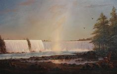 """""""Artist View of Niagara,"""" William R. Davis, oil on canvas, 7.5 x 11.5"""", private collection. Stone Gallery, State Of Florida, Artist Names, Artist Painting, Natural Wonders, American Artists, Niagara Falls, Oil On Canvas, Im Not Perfect"""