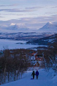 walking towards the village of Bjorkliden, Lapland, Sweden ~ in the background Torne trask (lake) and Lapporten or Tjuonavagg (u-shaped) mountain | kbhsphoto, Artflakes.