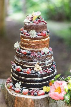 Naked Cake Sponge Layer Fruit Berries Icing Log Stand Indie Hand Made Outdoor Woodland Wedding www.ilariapetrucc...