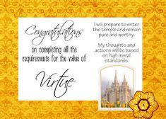 LDS Handouts: Ribbon Certificate-Virtue