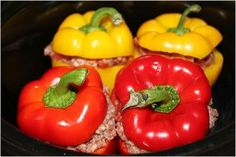 Easy Beef and Rice Stuffed Bell Peppers For Four | AllFreeSlowCookerRecipes.com