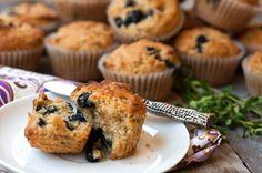 blueberry oatmeal muffins with lemon and thyme- AP flour, whole wheat flour, whole oats, baking soda, baking powder, fresh thyme, eggs, butter (sub applesauce), lemon infused EVOO, plain Greek yogurt, sugar, blueberries