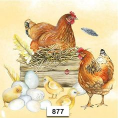 Hens And Chicks, Baby Chicks, Arte Do Galo, Paper Serviettes, Cow Face, Paper Napkins For Decoupage, Storybook Cottage, Multimedia Artist, Chicken Art