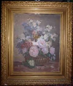 Antique Sgn Louis Minet 1900 Oil Still Life Painting Urn w Flowers Gilt Frame | eBay